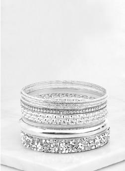 Plus Size Jewel Encrusted Bangles - 3193072693560