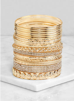 Plus Size Set of Metallic Bangles - 3193072694003