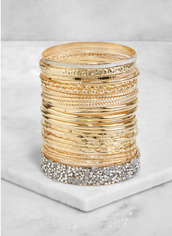 Rhinestone Textured Metallic Bangles - 3193072694005