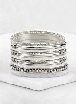Plus Size Glitter Textured Bangles Set - 3193073841139