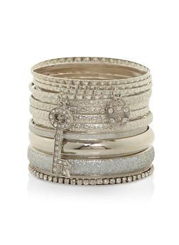 Metallic Charm Bangles - 3193073841565