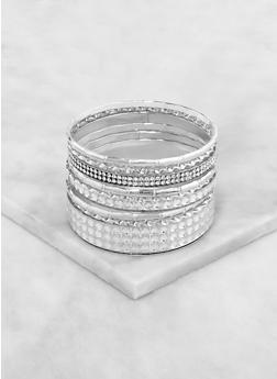 Rhinestone Textured Bangles - 3193073841725