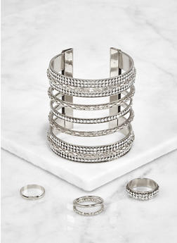 Rhinestone Cuff with Ring Trio - 3193073841749