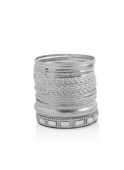 Textured Rhinestone Bangles Set - 3193073842780