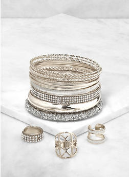 Rhinestone Encrusted Bangles and Rings - 3193073843363