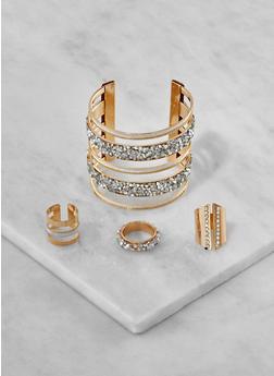 Set of 3 Metallic Rhinestone Rings and Cuff Bracelet - 3193073843392