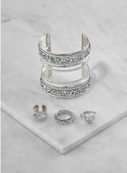 Glitter Cuff Bracelet with Rings - 3193073843393