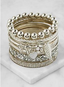 Rhinestone Charm Bracelet Set - 3193073843394