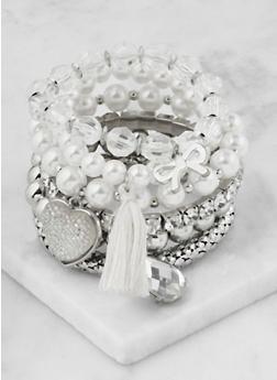 Set of 6 Metallic Stretch Bracelets - 3193073843395