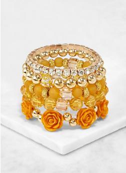 Rhinestone and Rose Bead Stretch Bracelets - 3193073843772