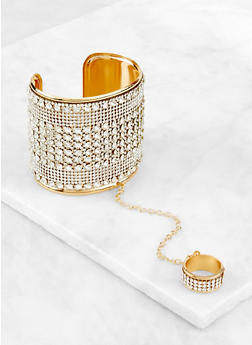 Rhinestone Cuff with Attached Ring | 3193073843803 - 3193073843803