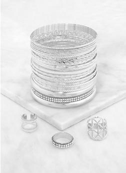 Plus Size Metallic Ring Trio and Bangles - 3193073843855