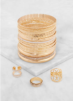 Plus Size Metallic Ring Trio and Bangles - 3193073843855