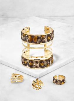 Rhinestone Cuff Bracelet with Flower Ring Trio - 3193073844129