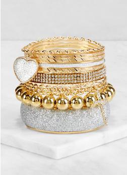 Glitter Heart Charm Bangles - 3193073844205