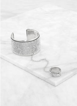 Rhinestone Cuff with Attached Ring | 3193073844254 - 3193073844254
