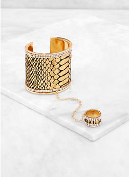 Snake Print Rhinestone Trim Cuff with Attached Ring - 3193073844255