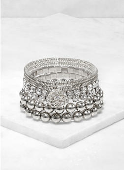 6 Metallic Rhinestone Stretch Bracelets - 3193074171377