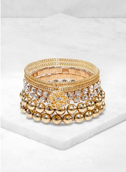 6 Metallic Rhinestone Stretch Bracelets - 3193074171377