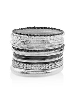 Plus Size Multi Textured Bangles Set - 3193074173382