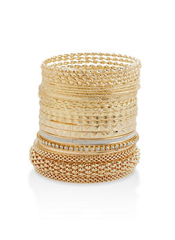Multi Textured Metallic Bangles - 3193074173478