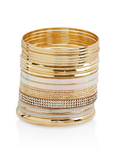 Plus Size Glitter Metallic Bangles - 3193074179494