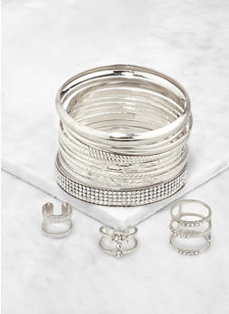 Glitter and Metallic Bangles with Ring Trio - 3193074974007