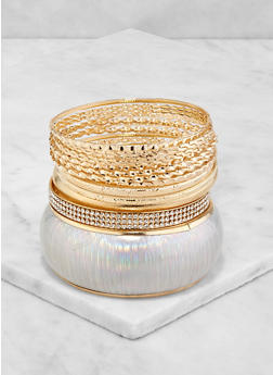 Holographic and Metallic Bangles Set - 3193074974009