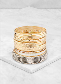 Plus Size Glitter Metallic Bangles - 3193074974012