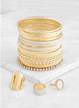Plus Size Glitter Ring Trio with Bangles - 3193074974015