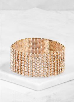 Nine Row Rhinestone Stretch Bracelet - 3194003201498