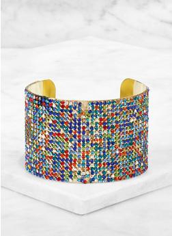 Multi Color Rhinestone Cuff Bracelet - 3194003202802