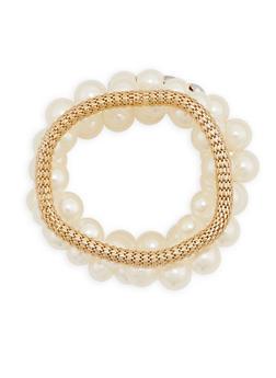 Faux Pearl Rhinestone Metallic Mesh Bracelets - 3194035151633