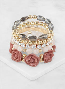 Flower Beaded Stretch Bracelets - 3194035151941