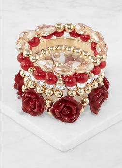 Flower Beaded Stretch Bracelets - 3194035151941