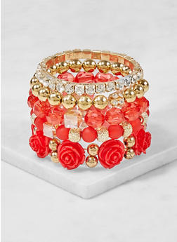 Assorted Set of Beaded Rhinestone Stretch Bracelets - 3194035152688