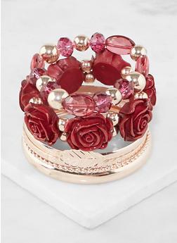Flower Metallic Bracelets Set - 3194035153593