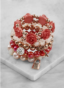 Beaded Charm Stretch Bracelets - 3194035155926