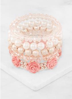 Faux Pearl Beaded Stretch Bracelets - 3194035157361