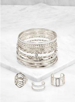 Plus Size Textured Metallic Bangles with Ring Trio - 3194057699107