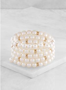 Faux Pearl Coil Bracelet - 3194057699880