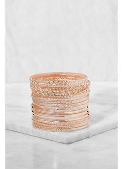 Plus Size Textured Metallic Bangles - 3194062810425