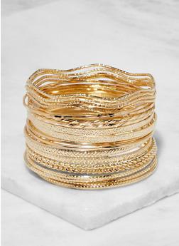Plus Size Textured Metallic Bangles - 3194062811726