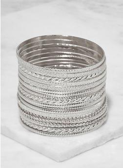 Plus Size Textured Metallic Bangles - 3194062813981