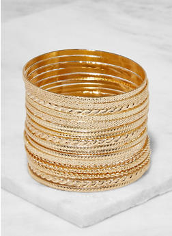 Plus Size Textured Metallic Bangles - 3194062813981