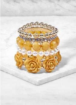 Beaded Rhinestone Faux Pearl Stretch Bracelets - 3194062815301