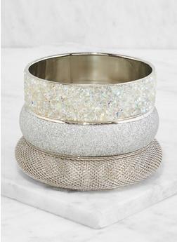 Plus Size Glitter Rhinestone Bangles - 3194062920873