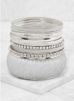 Plus Size Set of Glitter Metallic Bangles - 3194062921286