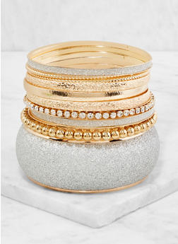 Plus Size Set of Glitter Metallic Bangles - 3194062921286