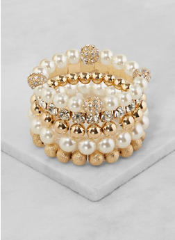 Set of 5 Assorted Stretch Bracelets - 3194062922074